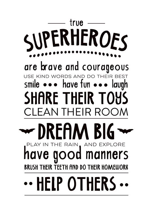 Rules Of A Superhero  Poster / Kids' posters at Desenio AB (2263)