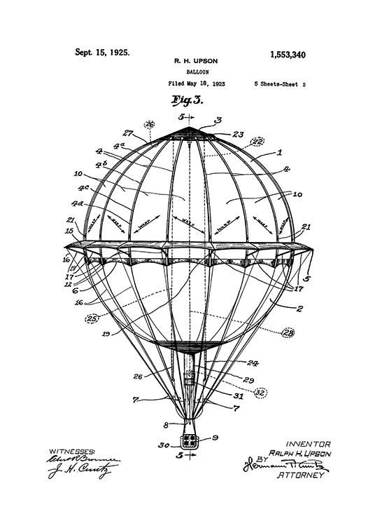 Hot Air Balloon Patent Poster / Vintage at Desenio AB (2348)