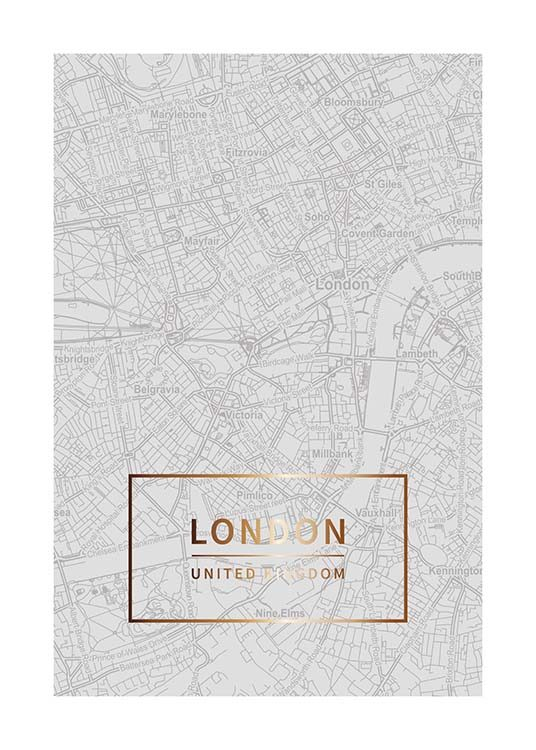 – Map of London in grey with a gold text and border at the bottom