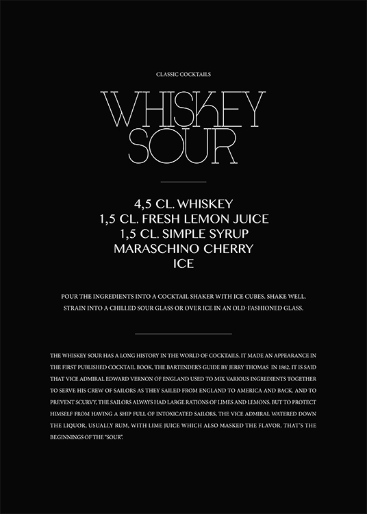 Classic Whiskey Sour Poster / Text posters at Desenio AB (3624)