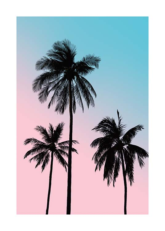 Pink Palm Sky Poster / Palms at Desenio AB (3781)
