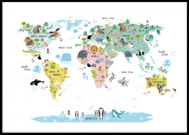 World Map With Australia.World Map Animals Poster