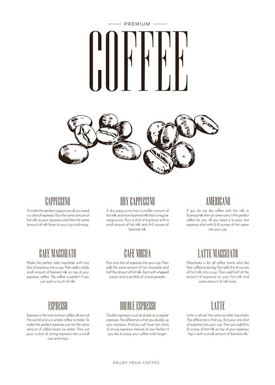 Coffee Type, Poster / Kitchen at Desenio AB (8231)