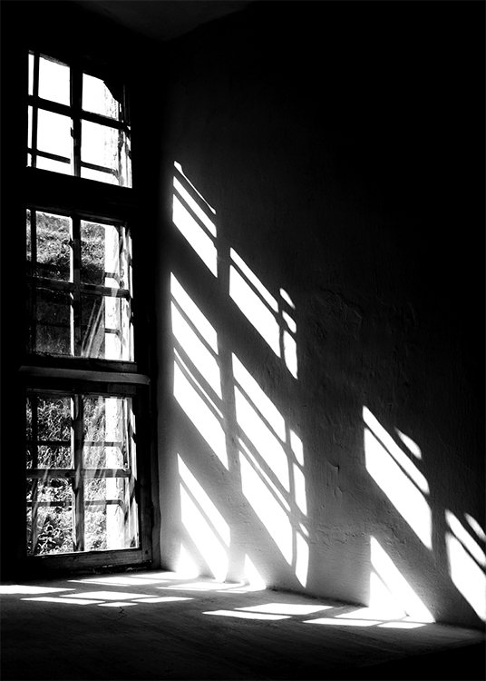 – Black and white photograph of shadows from a window on a wall