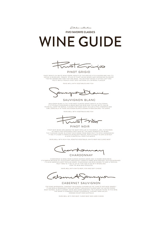 Five Wine Classics, Posters / Text posters at Desenio AB (8558)