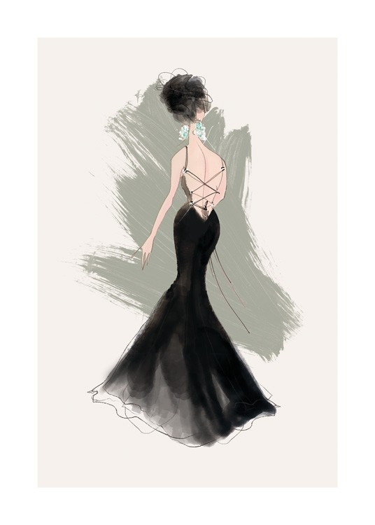 – Illustration of a woman in a black gown with laces up the back and diamond earrings