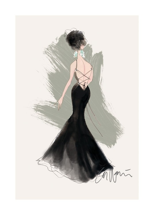 – Illustration of a woman seen from behind in a black gown with a laced up back against a beige background