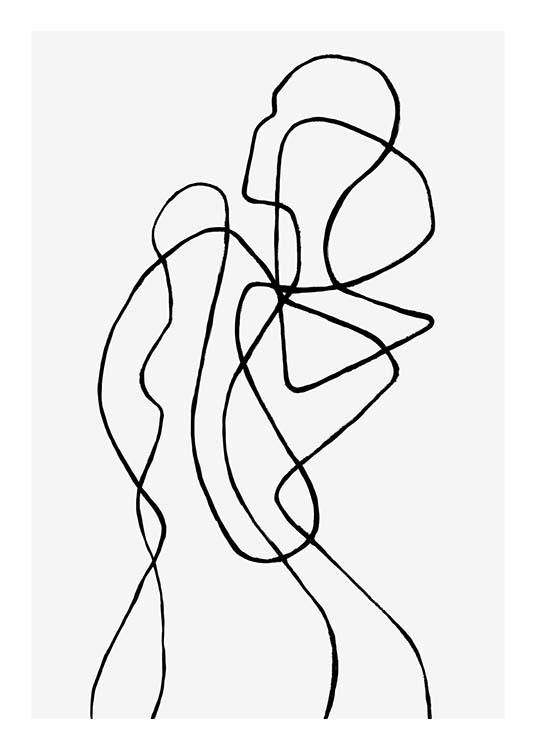 – Line art illustration with an abstract body